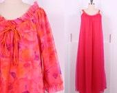 Vintage 1960's Floral Chiffon Peignoir Set • 60's Hot Pink Floral Slip Set