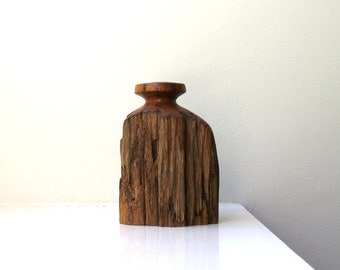 Vintage Weed Pot Wood Vase Rustic Distressed Turned Weedpot Sculpture