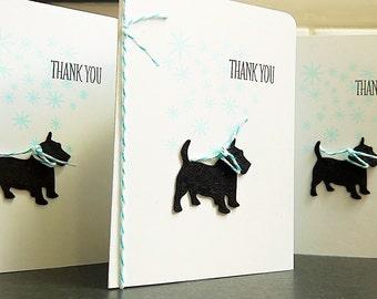 Scottie Dog Thank You Cards Set of 4, Dog Thank You Notes, Winter Thank You Notecards, Scottish Terrier Gift