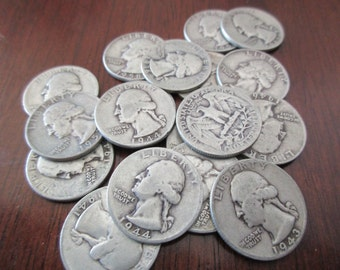 circulated US quarter - worn, 90% silver, 1940s, 1950s, 1960s