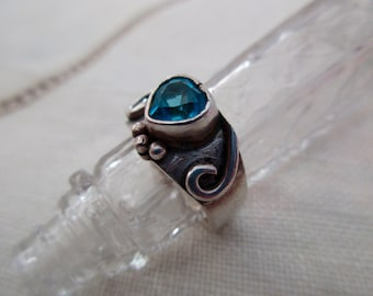 sterling silver and blue topaz ring - heart, size 5