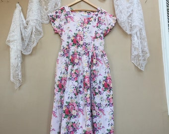 Pink Roses Floral Dress, Spring Cotton Romantic Dress , Rose Floral Dress, Size Medium