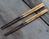 Wood Chopstick Set of 2 Pairs Teak Wood + Rose Wood - Unique Wood - Premium Quality 100% Handmade
