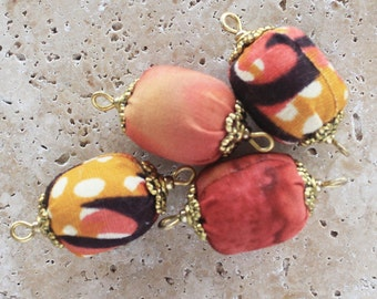 Bead connectors, bead links, fabric beads, jewelry link, bracelet link, necklace link, bracelet connector