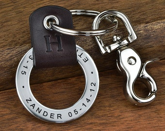 Engraved Leather Keychain, Personalized gift, Dad gift, New Dad gift, Grandpa gift, or Stepdad gift- Your custom text up to 35 characters