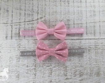 Baby Girl Bow Headband - Fabric Bow Headband - Light Pink Bow Headband - Pink Polka Dot Bow Headband