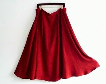 Silk Red Navy Polka Dot Maxi Skirt/ Large #KheGreen #EcoFashion