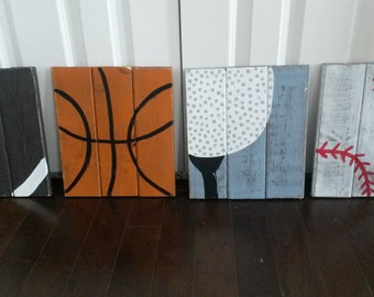 Set of FOUR vintage wood sports signs, Sports decor, wood sports signs, sports room decor