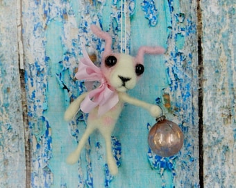 Terrier Chihuahua Puppy Dog Feather Tree Ornament Wool Needle felted Vintage German Style silk ribbon bell OOAK - Little PIp
