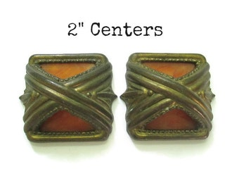 "Pair of Vintage Brass and Bakelite Drawer Pulls - 2"" centers Waterfall or Art Deco Furniture Handle"