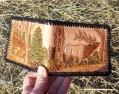 Leather Wallet with Hunting Scene