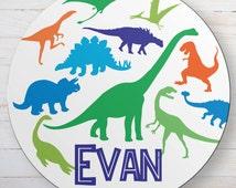 Personalized Dinosaur Melamine Plate - Custom T-Rex Plate - Monogrammed Jurassic Park Girls and Boys Dinner Plate