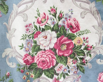 6 Yards of 1930s French Blue and Cream Scrolled Antique English Pink Rose Floral Vintage Fabric