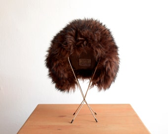Vintage 1970s Italian Lamb Fur Winter Hat in Espresso