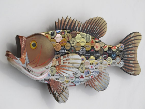 Bottlecap Fish Metal Wall Art Large Mouth Bass By Ericseasel