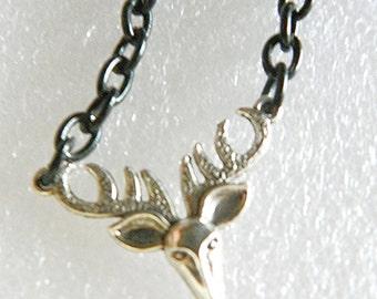Mens Deer Necklace chain necklace mens deer head necklace mens antler necklace fathers day gift birthday gift fathers day necklace present
