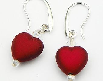Red Heart Earrings heart earrings Valentine's Earrings  crystal earrings valentine's jewelry 1 inch earrings red earrings Christmas earrings