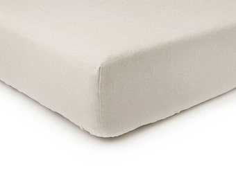 Sand brown linen fitted sheet, Queen bed sheets, King sheets, Double Full or Twin size fitted sheets, Sand brown linen bedding