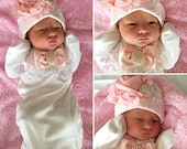 Newborn baby girl take home beaded layette gown
