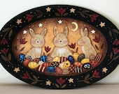 Primitive Folk Art Painting for Easter and Spring -  Oval Wooden Plate with Bunnies, Easter Eggs, Tulips, Primitive Colors, Moon, Stars OOAK