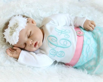Monogram Baby Girl Clothes Newborn Girl Take Home Outfit Preemie Personalized Baby Layette Gown Tiara Headband New Baby Gifts Set