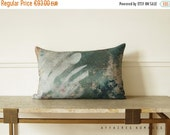 "ON SALE Art pillowcase. Plant motif. In the Greenhouse / Linen Oblong Cushion 14""x 22"".  Green..  /  FRAGMENTS"
