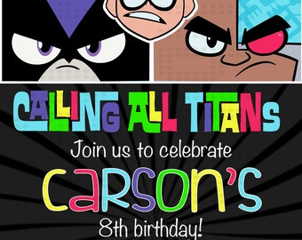 Teen Titans inspired birthday invitation l Teen Titans Go! l 4x6 I Instant Download