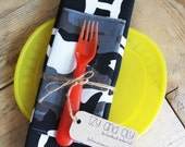 Placemat and Napkin Set for Kids  - Camouflage Napkin with a Black Freehand Circles Placemat
