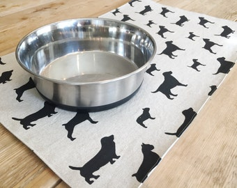 Large Pet Placemat with dogs - Choose natural, chocolate, or pink