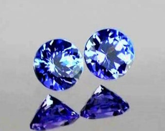 Tanzanite Faceted Rounds, 4  MM, Lavender Blue,Matched Pair, Natural Gemstones, .60 Carat TW, Priced Per Pair