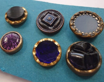 Small collection of blue/purple vintage/antique waistcoat buttons  (Ref P25)