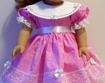 Hearts and bows dress for American Girl and similar 18 inch dolls