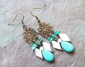 Bohemian turquoise chandelier earrings, antique gold turquoise, white fluorite chandelier earrings