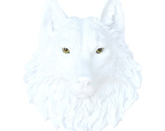 White Wolf Head Wall Mount with Realistic Eyes - Faux Taxidermy W0100