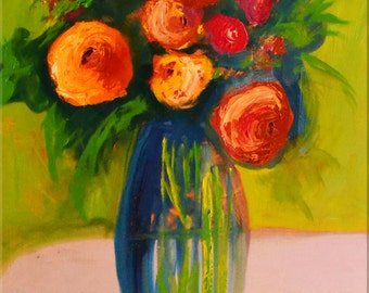 """Original OIL  Painting Large  Abstract Roses Painting  24"""" x 36"""" Floral Still Life On  Canvas by Claire McElveen"""