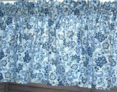 Sale BLUE FLORAL Valance Cotton 40 x 14   Window Treatment Valance