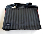 Large Seat Belt Messenger Bag - Crossbody Bag - Black and Red Seatbelt Bag (M-7DX)