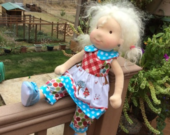 """16-18"""" doll clothes, pin tucked bodice, Little Red Riding Hood, 2 pc, fits American Girl, Waldorf"""