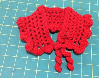 Doll clothes, crocheted shawl, red
