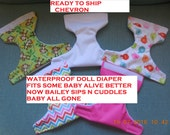 READY TO SHIP chevron #1 waterproof doll diaper  fits some baby alive fits snackin sara sips n cuddles baby all gone better now Bailey