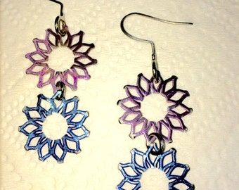 Pink and Blue Daisy Earrings