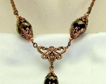 Nouveau Victorian Art Deco Copper Crystal Pendant Necklace