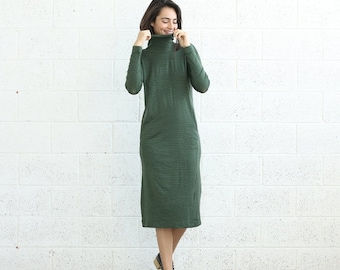 Summer SALE OFF Knitted Turtle Neck Dress, Green.