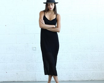 Knitted Tank Dress , Black