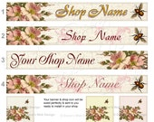 Vintage Wild Roses Etsy Banner Avatar Shop Icon - Romantic French Cottage Wild Roses - Customized with Your Shop Name