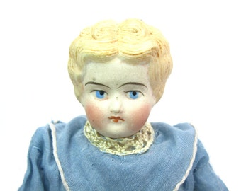 Antique Doll. Blonde Hair, Low Brow Bisque China Head, Arms, Legs. 1800s German Hertwig Doll. Sawdust Body. 9+ inches Tall. C 1850s to 1870s
