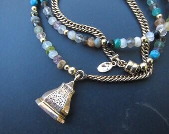 Gold Filled Watch Chain Bracelet with Gemstones, Fob Charm Bracelet, Wrap Bracelet, Two Girls Gems