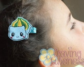 Pokemon Inspired Hair Clip, Badge Reel, Planner Accessory, or Book Mark - Meet Bulbasaur