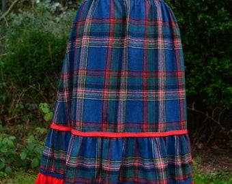 Betty Barclay bright blue and red tartan midi skirt size S/M