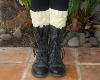 Cabled Boot Cuffs In Cream